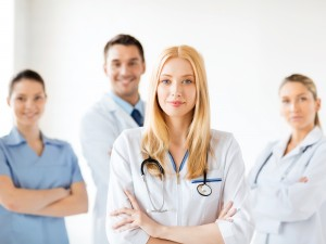 female doctor in front of medical group